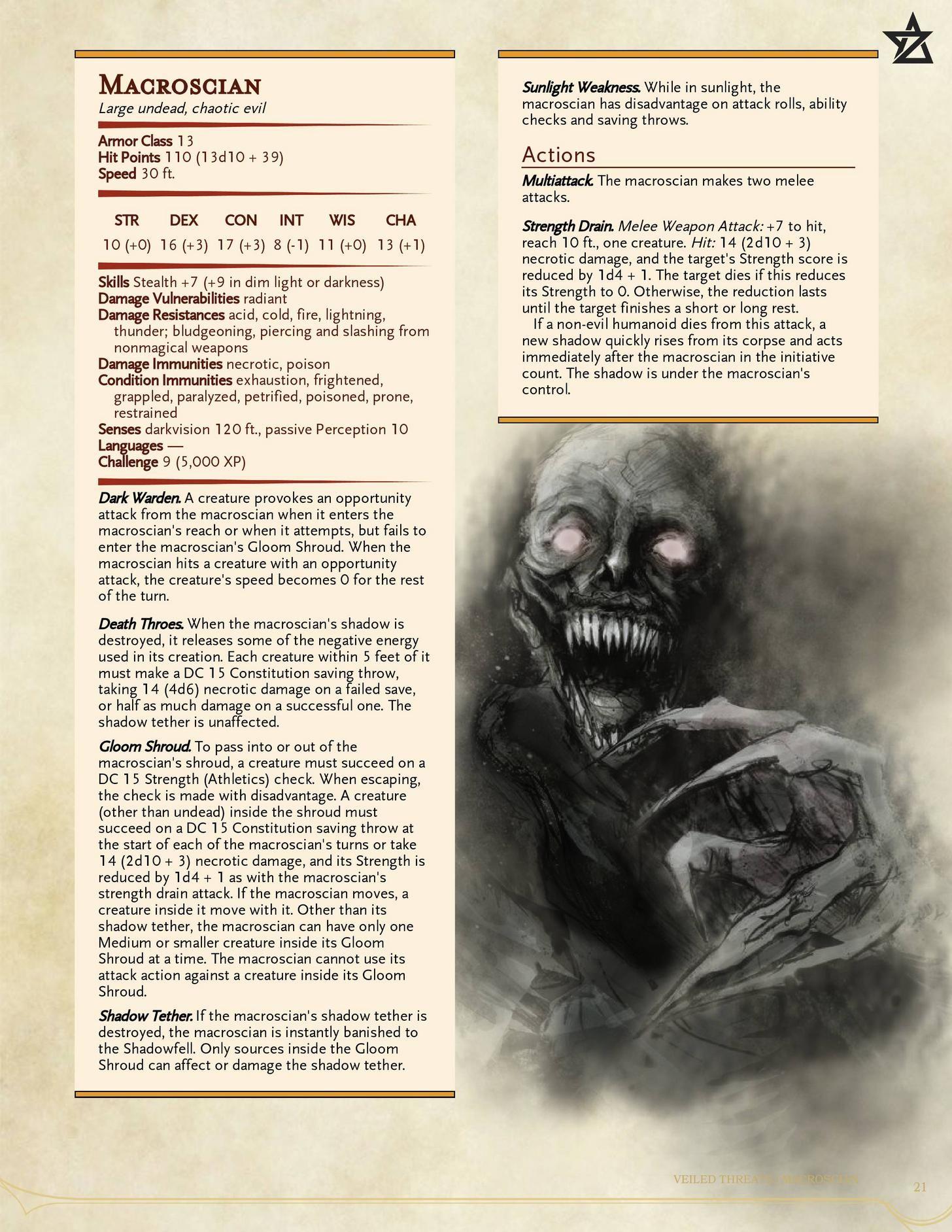 A-Z] Day 18: Macroscian (Long Shadow)   D&D 5e Monsters in