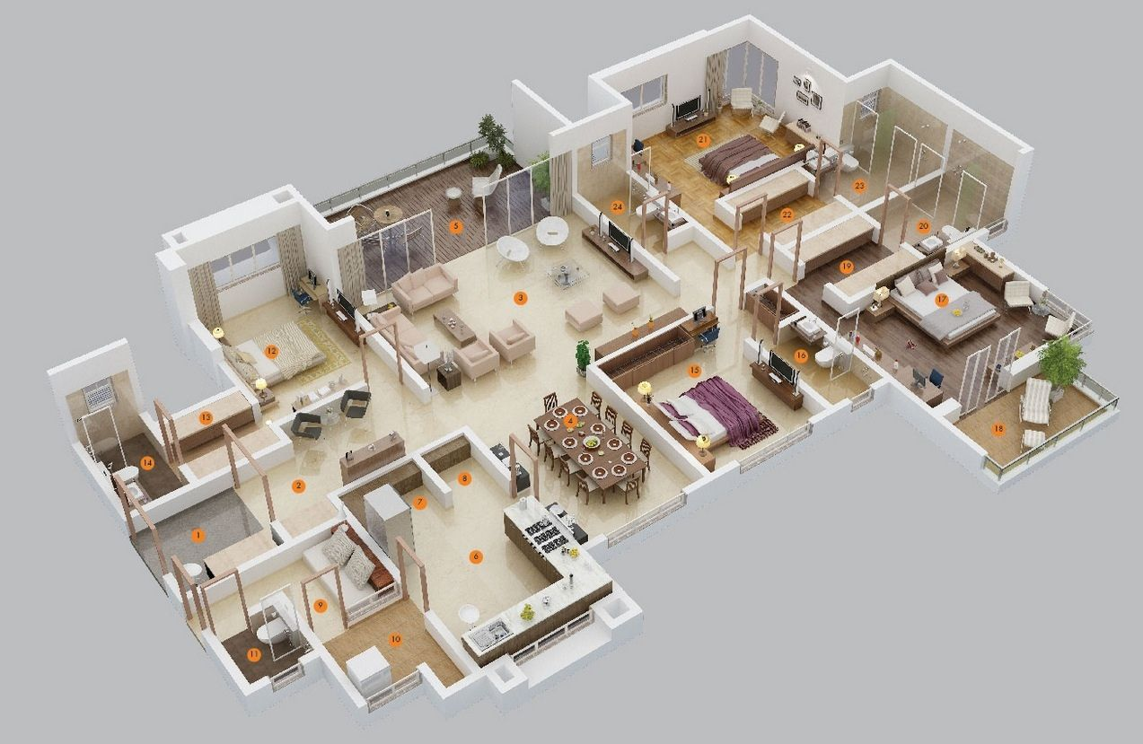 50 four 4 bedroom apartment house plans layouts for Inside 4 bedroom house