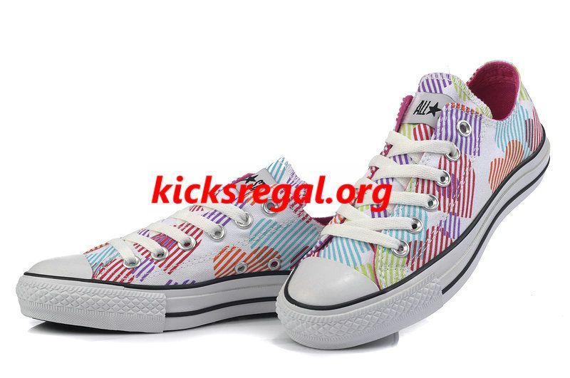 d96a0de3d75e Discount Kicksregal net Wholesale Converse All Star Lo Hearts Noble White  Deep Pink Colorful Print Low
