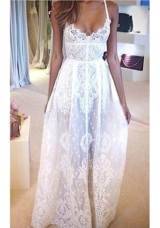 ed62b7e84e5 White Floral Condole Belt V-neck Lace Dress Sexy Style Spaghetti Strap  Women s Maxi Dress - Maxi Dresses - Dresses