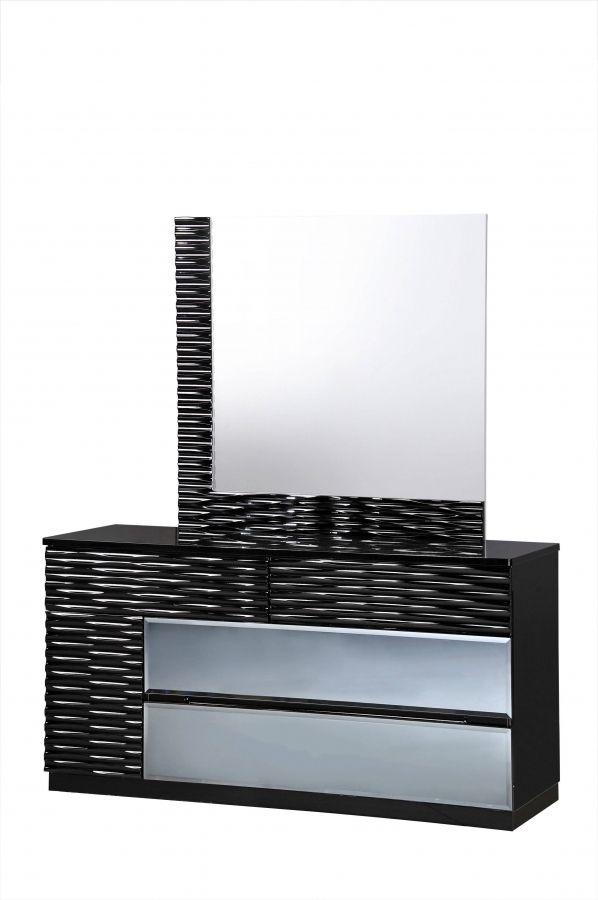 Manhattan Black MDF Wood 5pc Bedroom Set w/King Bed   Global ...