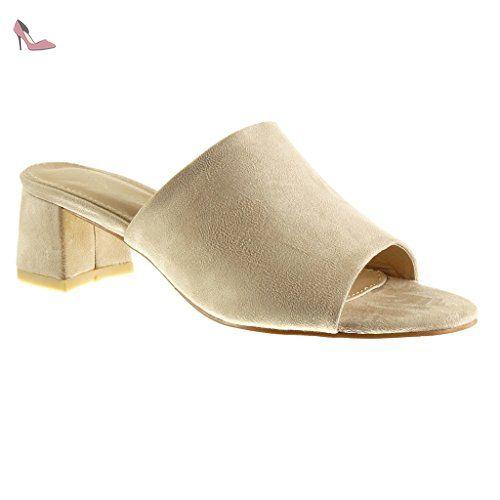 45a24014abc80c Angkorly - Chaussure Mode Sandale Mule femme Talon bloc 5.5 CM - Beige -  BL212 T