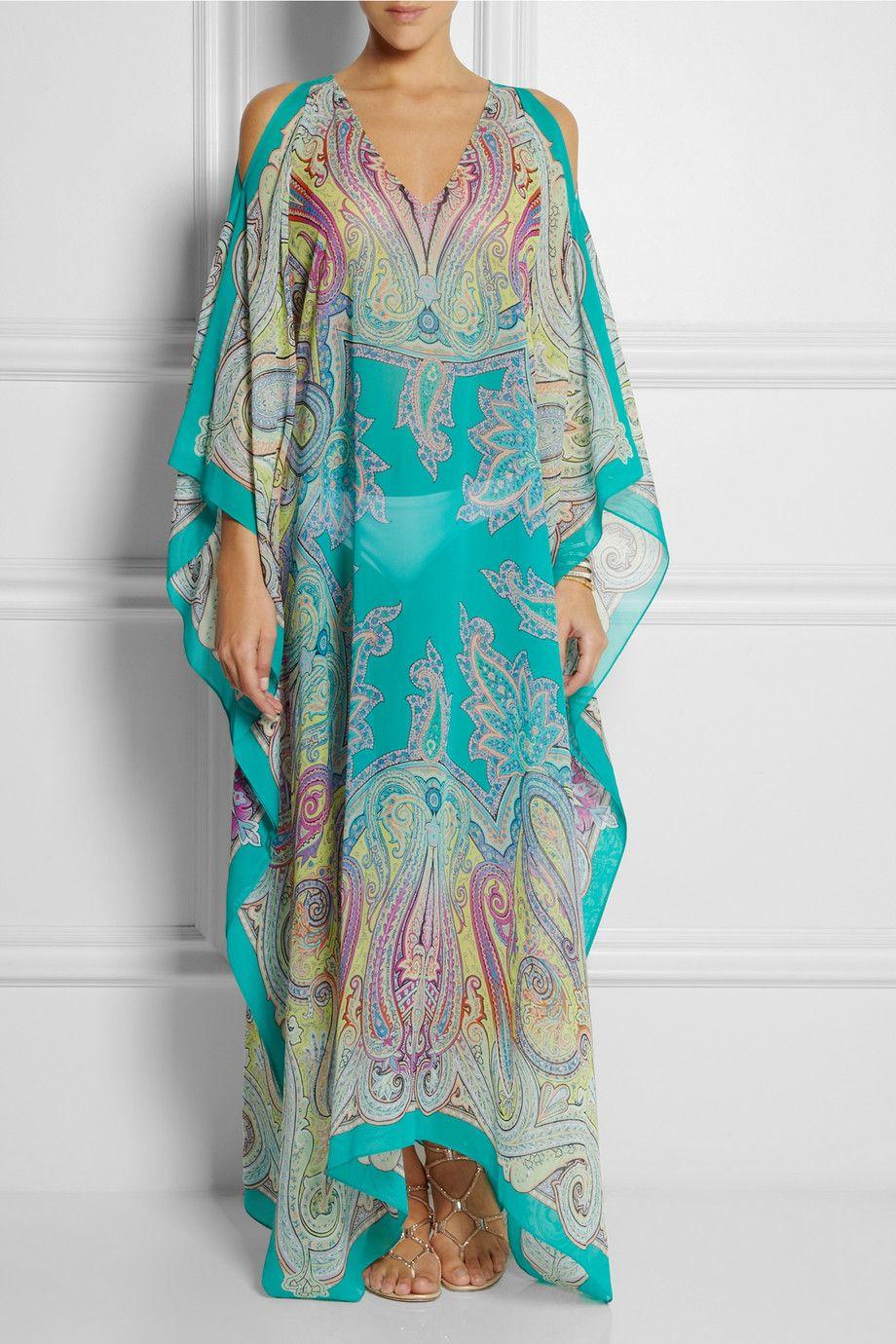 Silk Kaftan Watercolour Print Silk Dress Kaftan for women Luxury Kaftan Blue Silk Kaftan Dress
