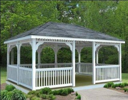 Vinyl-Rechteck-Pavillon mit Dach in weiß 106 Gazebo Designs - gartenpavillon selber bauen