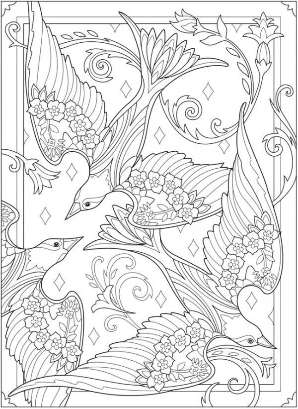 Six Birds and Blossoms Coloring Pages #adultcoloringpages