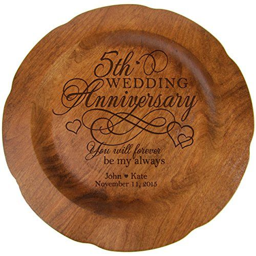 personalized 5th wedding anniversary gift plate fifth year gifts for her him couple happy 5 year