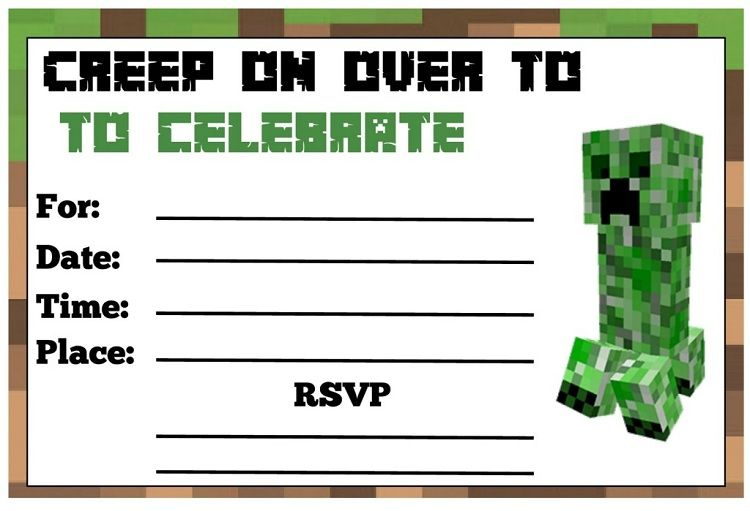 Minecraft Party Invitations Printable
