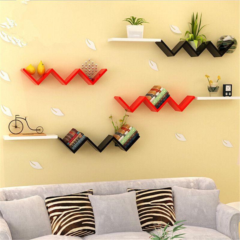 W -type Books Shelves Wall Hanging Shelf Bedroom Books Goods Storage ...