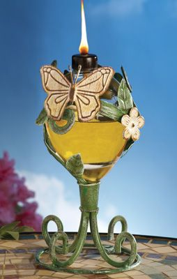 Floral Butterfly Glass Outdoor Oil Lamp Patio Decor Oil Lamps