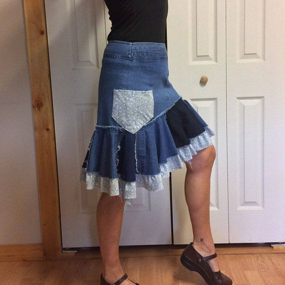 d2aa89f303 Upcycled Denim Skirt with Pockets Short Ruffle Skirt Recycled Jean ...