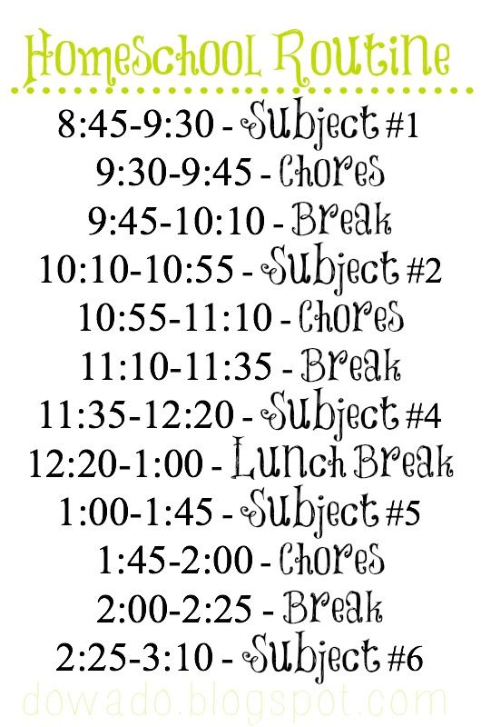 Homeschool Schedule: Not To Actually Follow But To Use As