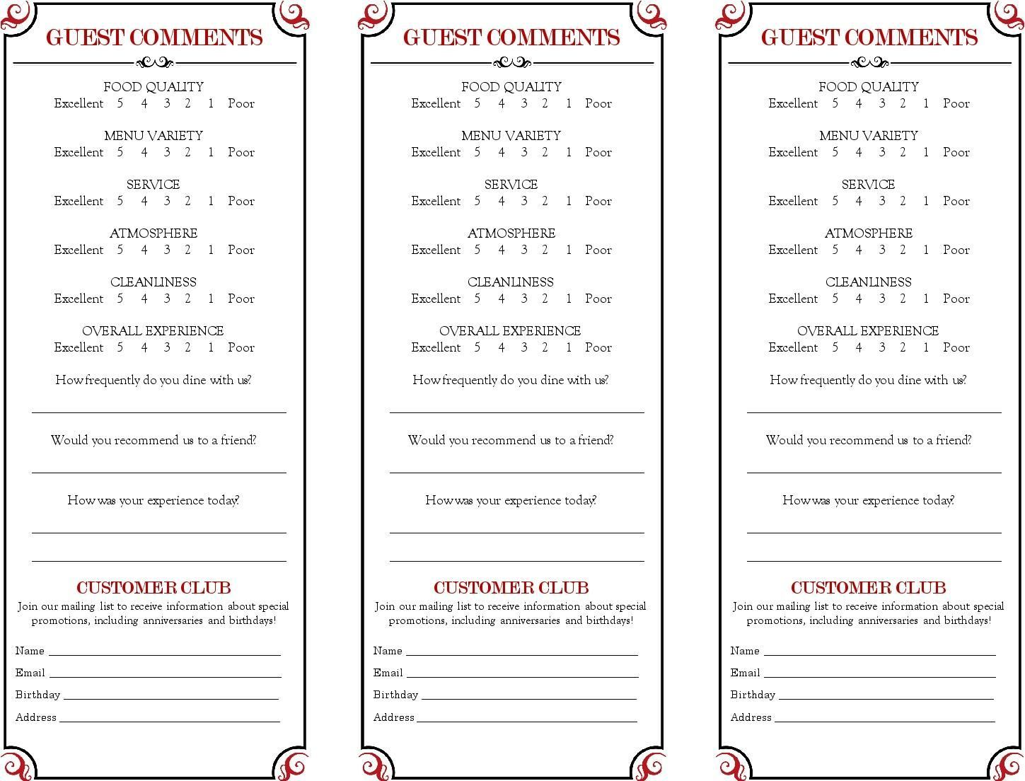 Restaurant Comment Card Google Search Comment Cards In Pertaining To Restaurant Comment Card Template C Card Templates Free Card Template Restaurant Card