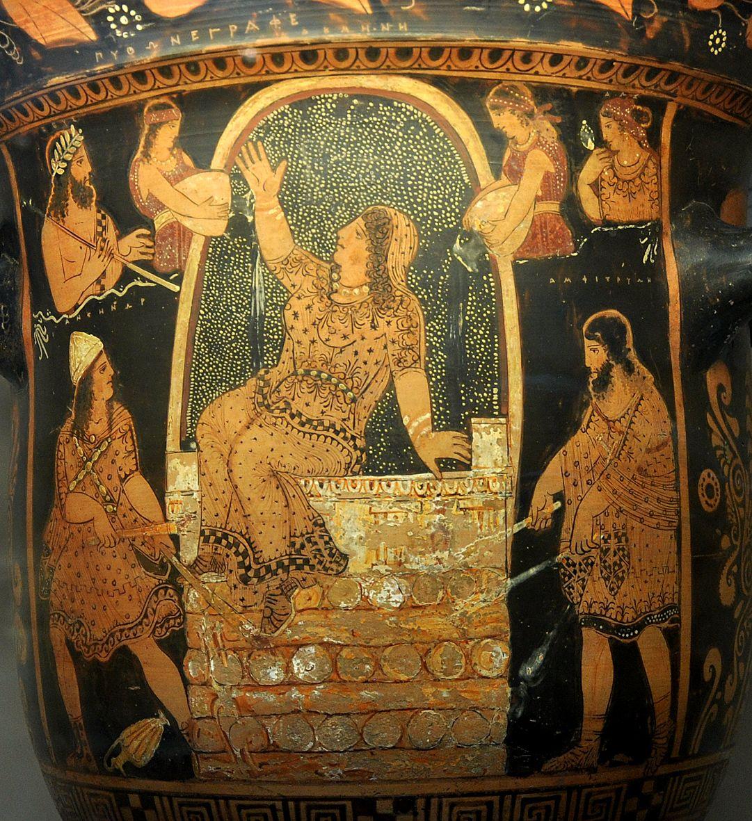 Rijke vrouw op Griekse vaas draagt goud en diamanten om haar status te benadrukken - BAUNAT