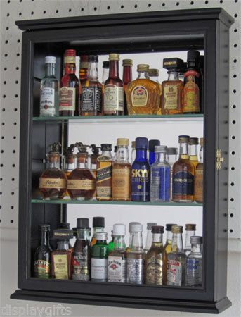 Mini Liquor Bottle Display Case Cabinet Shadow Box Neat
