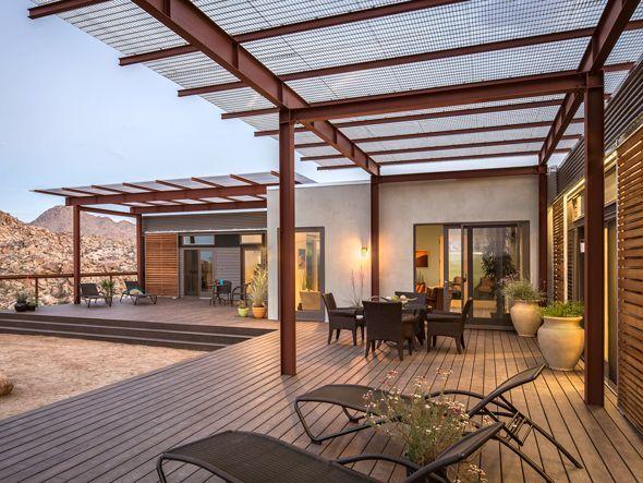 patio sunshade idea--love the I-beams Techos terraza Pinterest - como decorar un techo de lamina