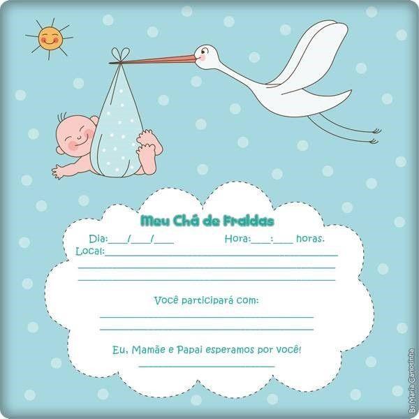 Convite De Chá De Fralda Online 3 Cegonha Baby Baby