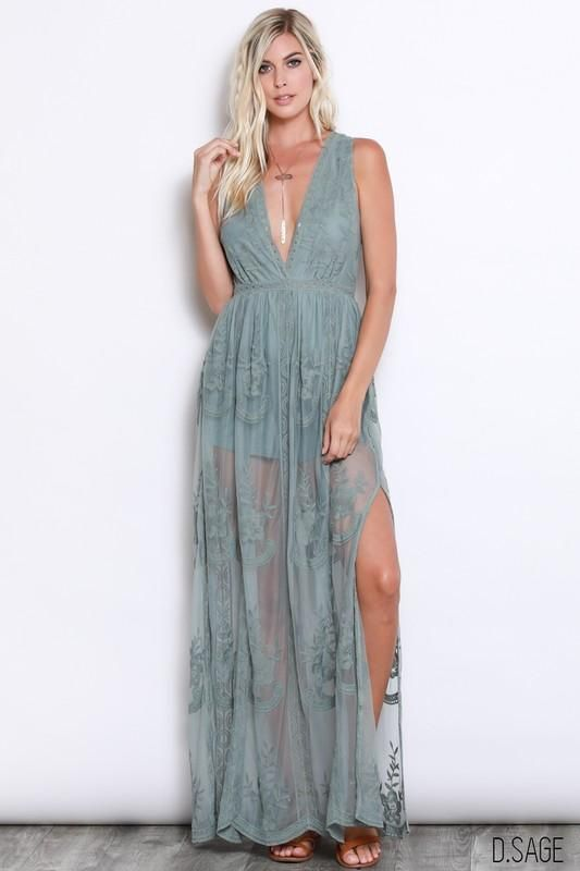 29034402345 Sage Green Lace Maxi in 2019