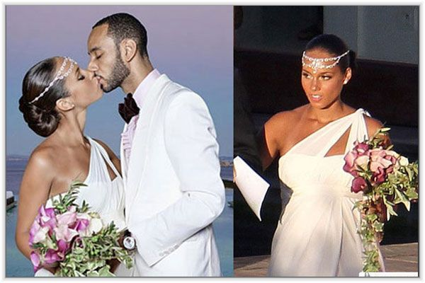 Celebrity Wedding Hairstyles Weddings Black Celebrities Alicia Keys Headpieces