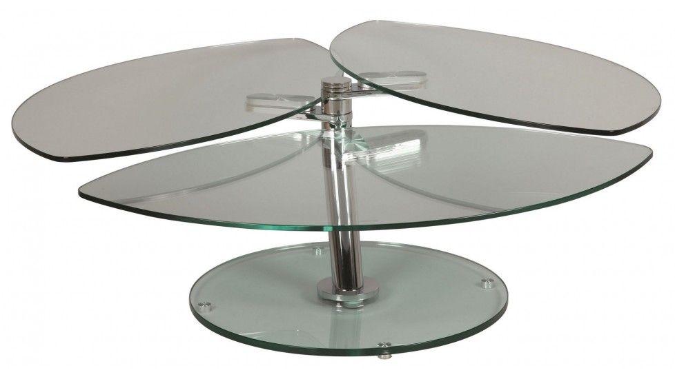 Table Basse Petale 3 Plateaux Pivotants En Verre Table Basse Table Basse Verre Table Basse Ovale