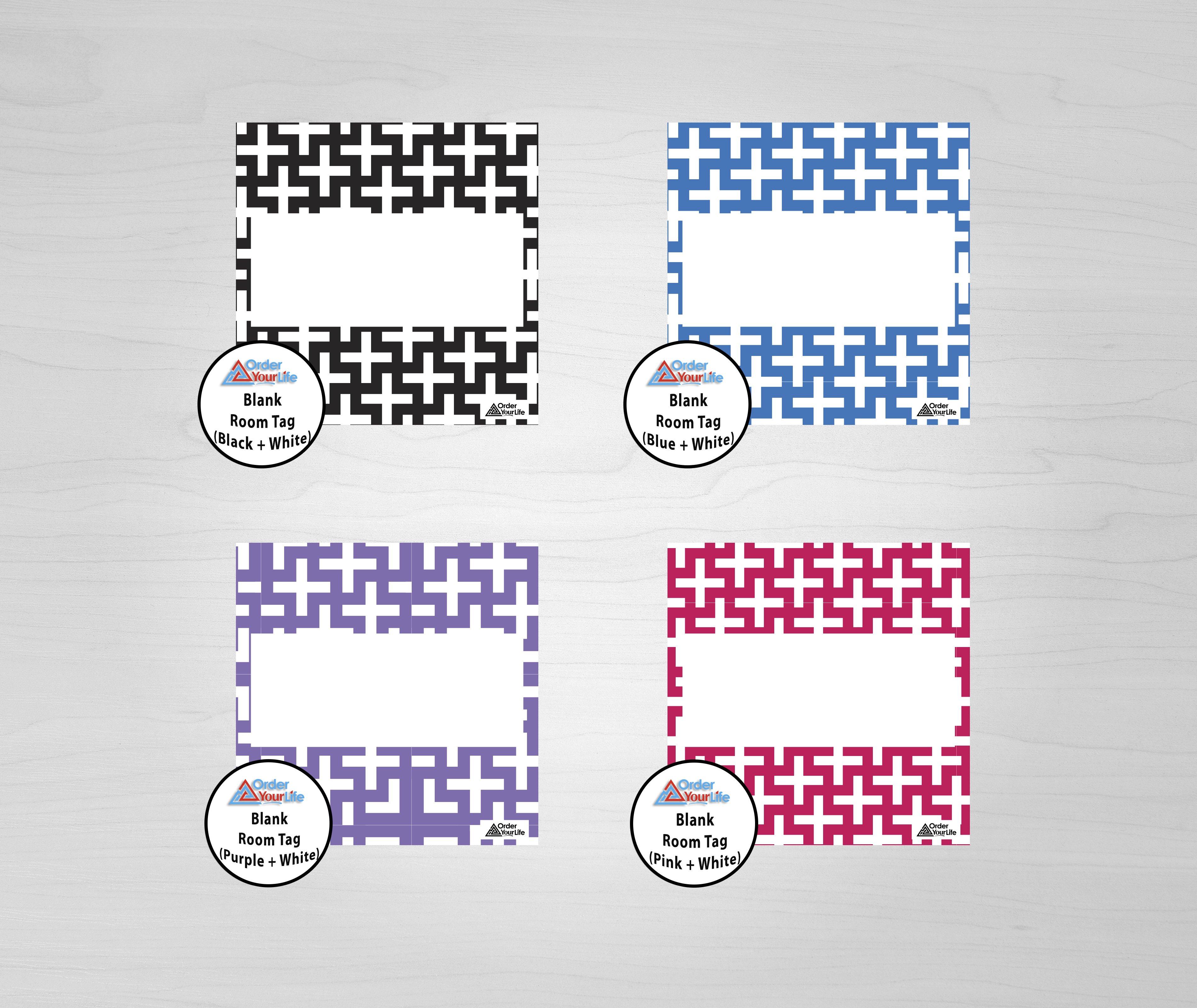 Room Tags - Print & Ship / Blank Room Tag (Purple + White)