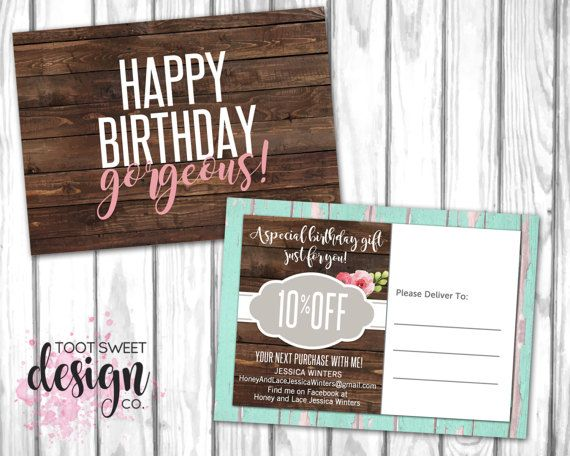 Custom Honey Lace Happy Birthday Mailer Flyer Promo Postcard Voucher Post Card Bday Promotion For Consultants Best Rustic Wood Vintage Shabby Chic