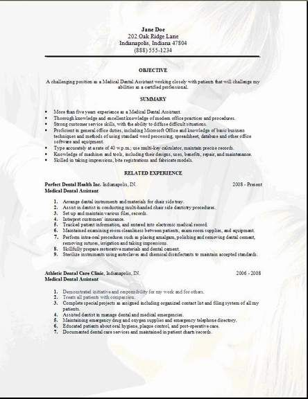 Medical Dental Resume3 Crafts Pinterest Medical dental and Craft - Dental Resume Examples