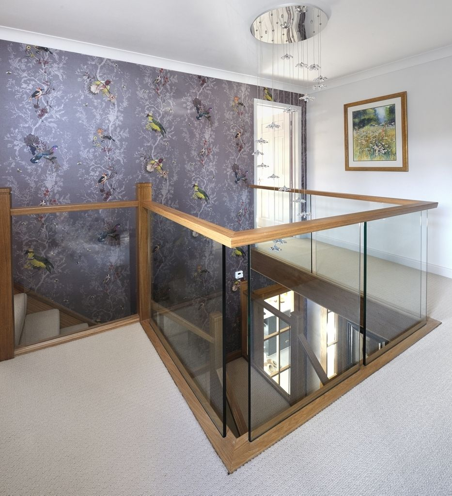 Best A Centrally Positioned Oak And Glass Staircase With A Half 640 x 480