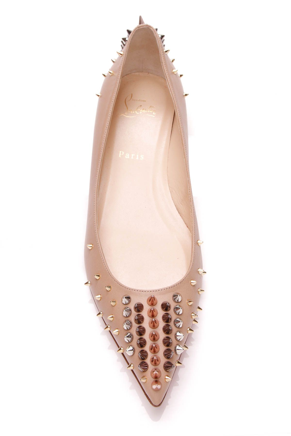 041b29aa0a1c Christian Louboutin Goldoflat Spiked Ballet Flats Fly Shoes