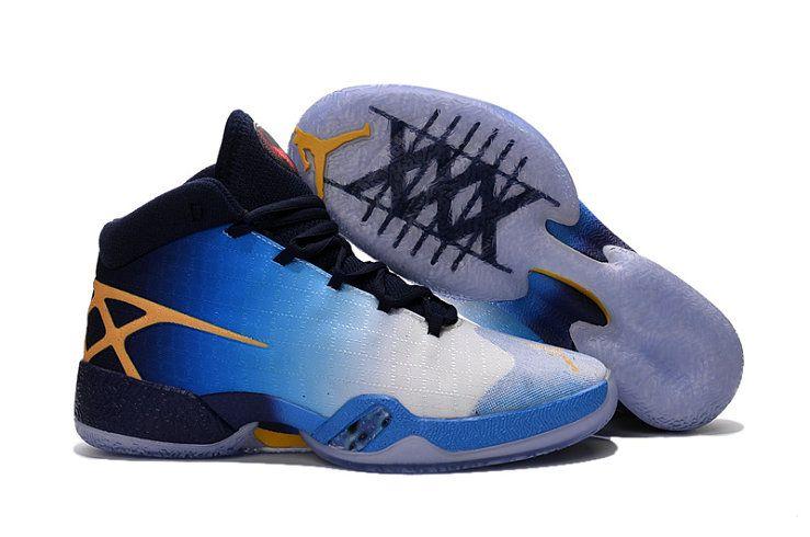 Authentic Air Jordan XXX AJ30 Yellow Dark Blue Basketball Shoe