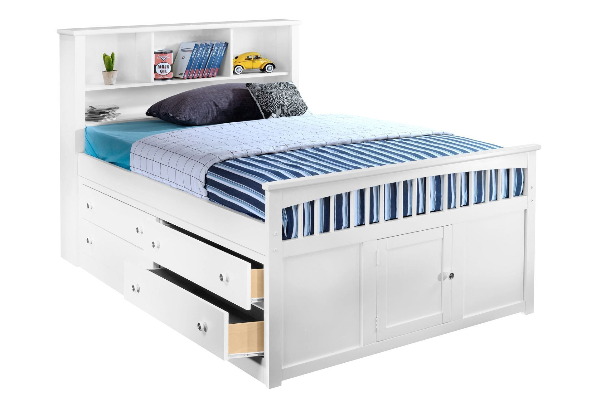 Bayfront full captains bed with single 4 drawer unit Captains bed full