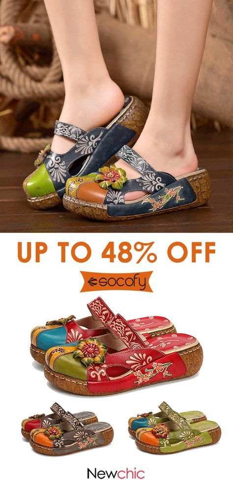 Photo of SOCOFY Vintage Colorful Leather Hollow Out Backless Flower Shoes.#shoes #womenfa…
