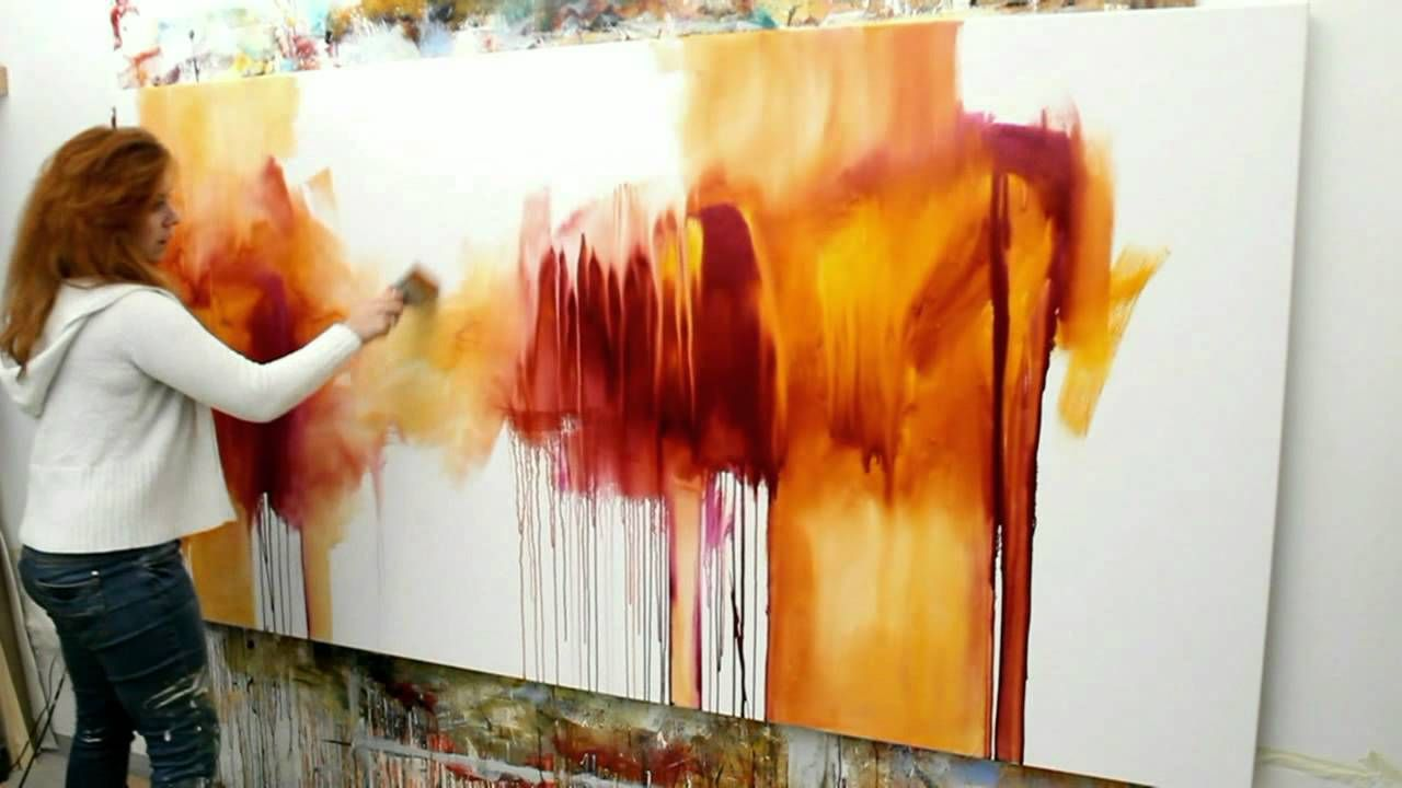 abstract acrylic painting demo