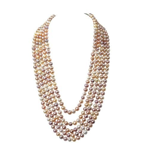 Pink Multicolor Pearl Multi-Strand Statement Necklace | AAA 6mm Natural Freshwater Semi-Round Pearls | 14-15-16-17-18""