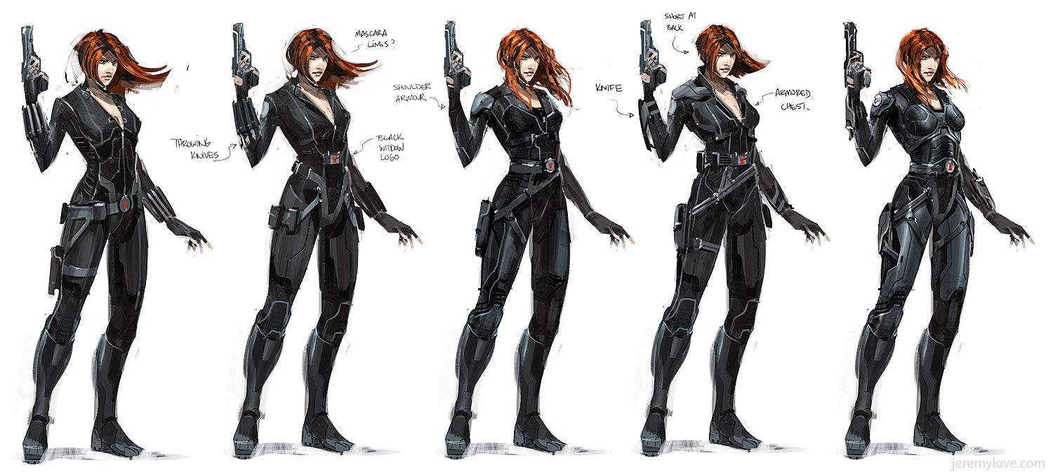 Black Widow concept art by Jeremy Love for a canceled Avengers game by THQ.