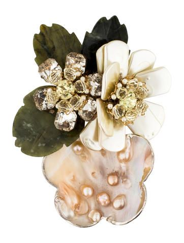 $545 Lawrence Vrba Mother of Pearl and Crystal Floral Brooch