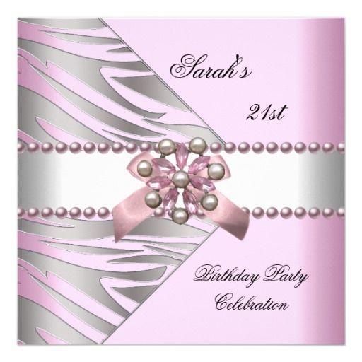 Birthday Party 21st Pink Zebra White Pearl Custom Invitation