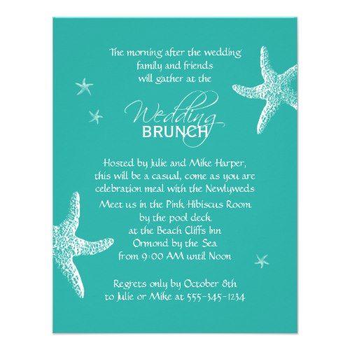 Starfish Blue Wedding Brunch Invitation 4 25 X 5 5 Invitation Card Brunch Invitations Wedding Brunch Invitations Brunch Wedding