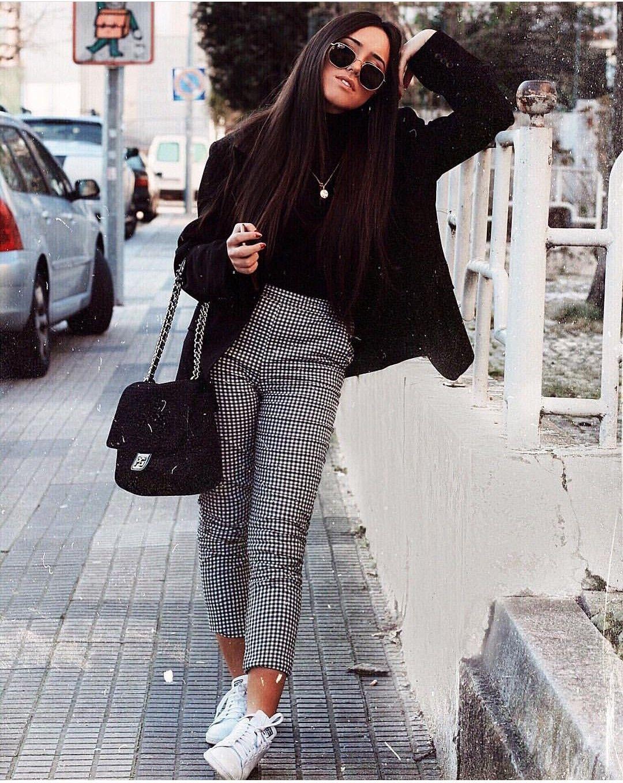 Outfits Con Pantalon De Cuadros Gris Mujer