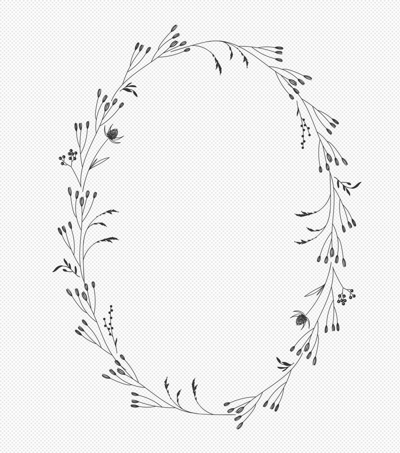 Floral Frame Svg Clipart Autumn Floral Wreath Svg Png Files Etsy In 2021 Wreath Drawing Floral Drawing Flower Vine Tattoos