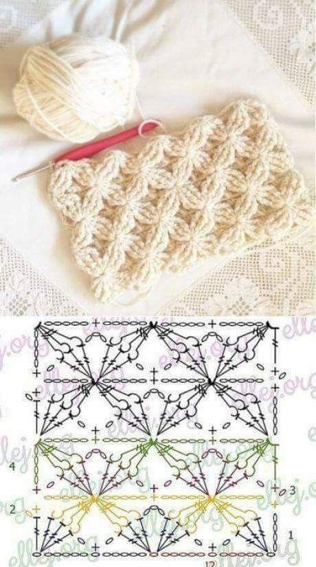 Pin de Walaa Abdallah en crochet stitchs كروشيه غرز | Pinterest ...