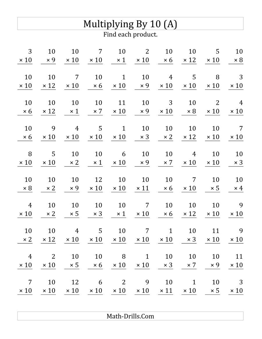 The Multiplying 1 To 12 By 10 A Math Worksheet From The Multiplication Workshee Printable Multiplication Worksheets Math Worksheets Multiplication Worksheets