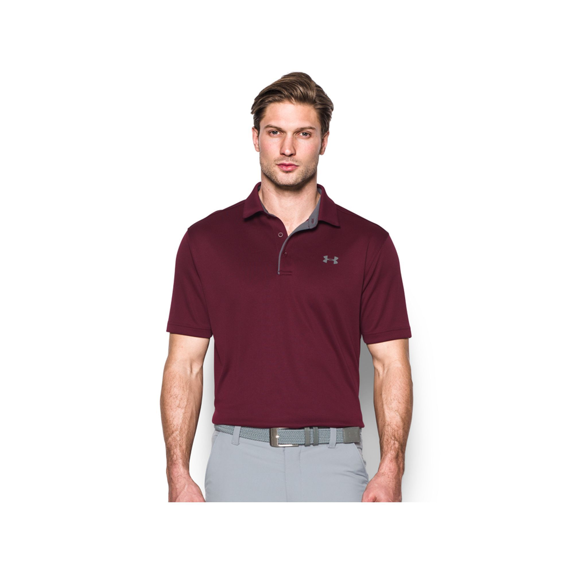 Men's Under Armour Tech Polo, Size: Medium, Dark Red