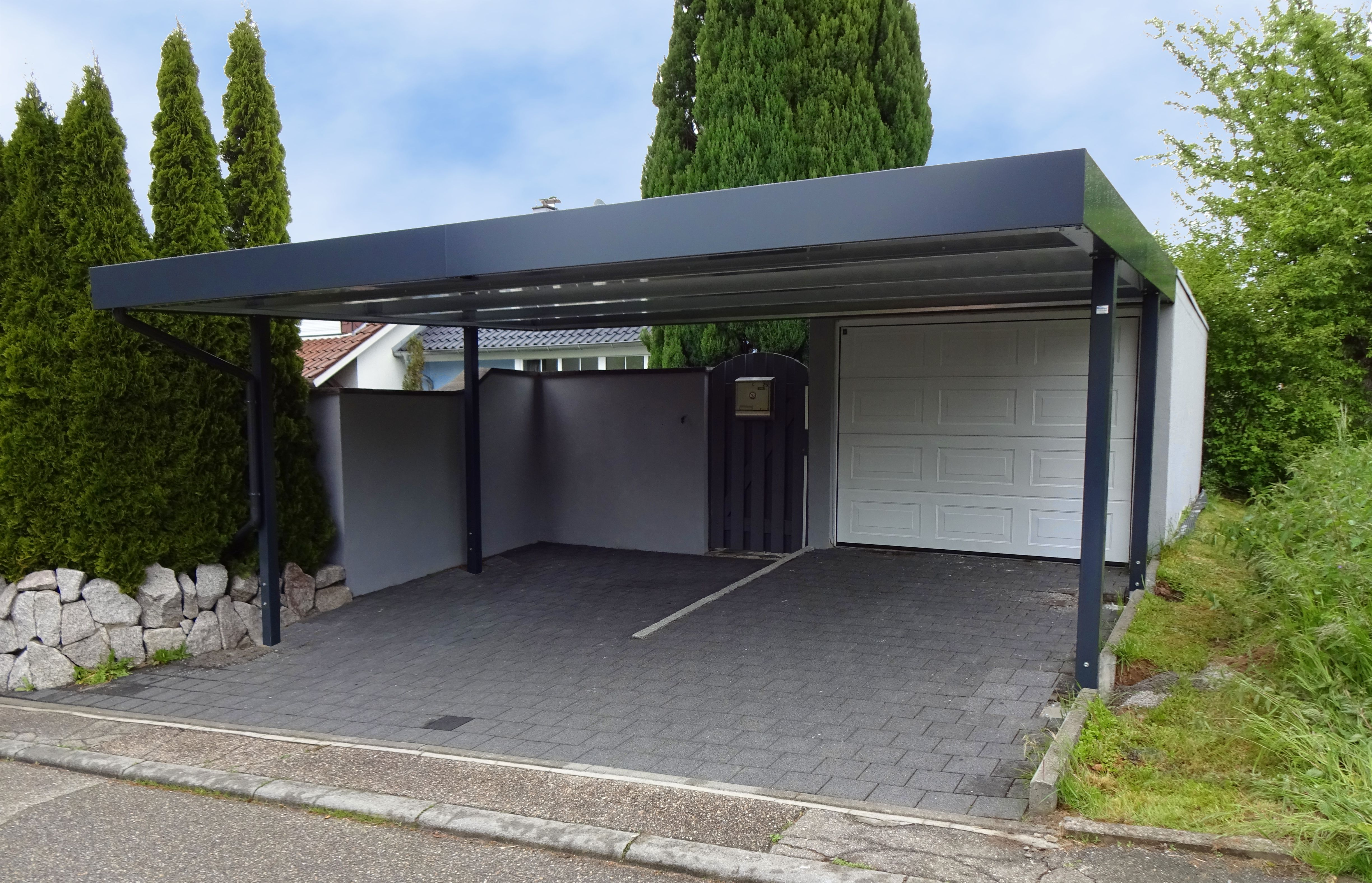 myport doppelcarport aus stahl in der farbe anthrazit carport carports doppelcarport. Black Bedroom Furniture Sets. Home Design Ideas