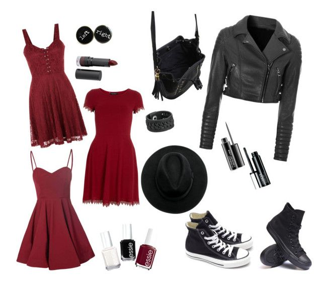 """Burgundy + Black"" by laura-rathbone on Polyvore featuring mode, Glamorous, Dorothy Perkins, Converse, Essie, MAC Cosmetics, Clinique, Monki, Miss Selfridge et Frye"