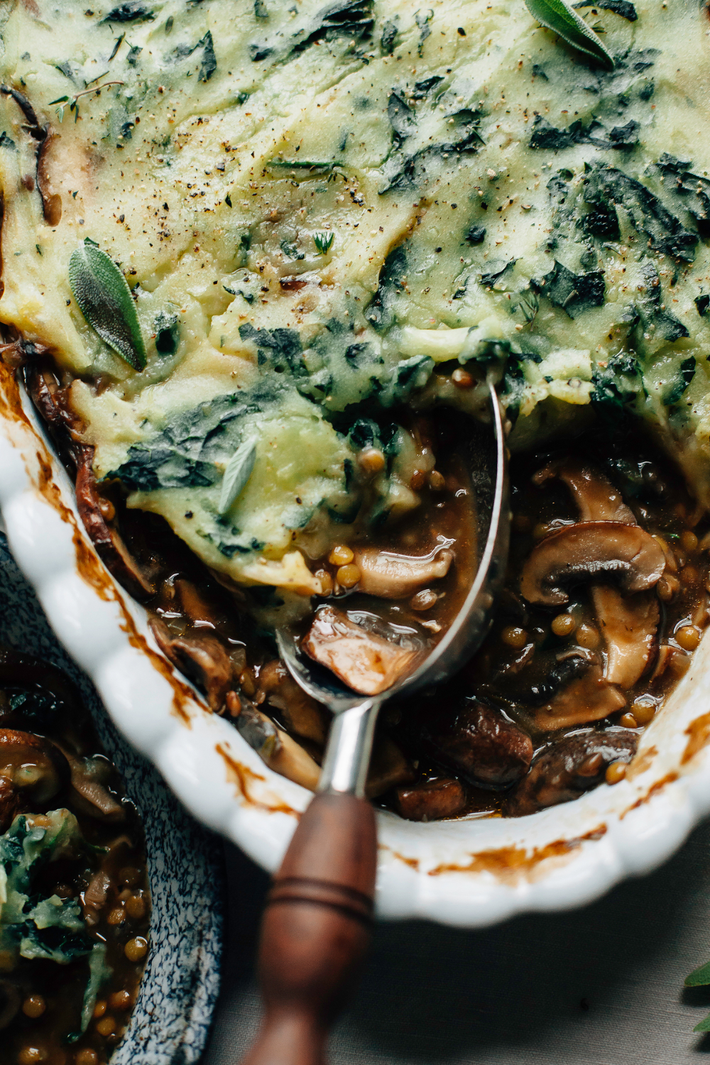 MUSHROOM GRAVY PIE WITH GARLICKY KALE MASHED POTATOES