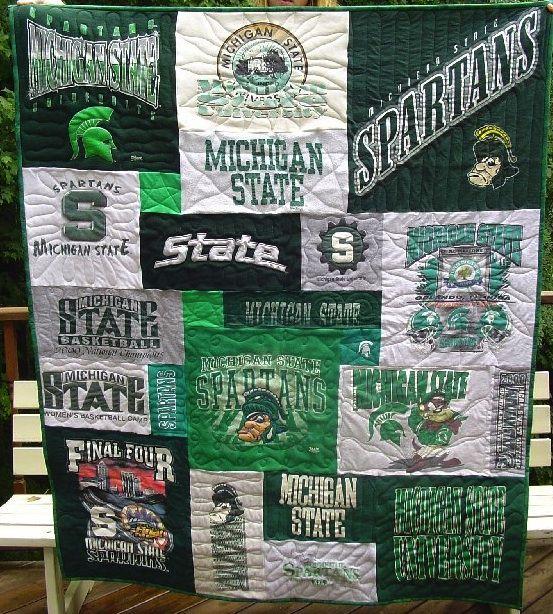Michigan State University T shirt Shirt quilt. Doing this