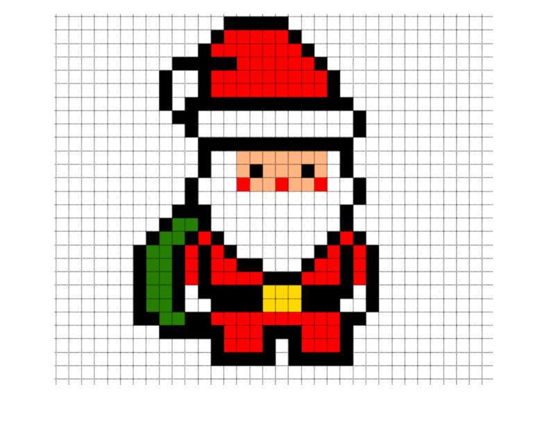 Simple Santa Claus Pixel Art Pixel Art Pixel Art Pattern Easy Pixel Art