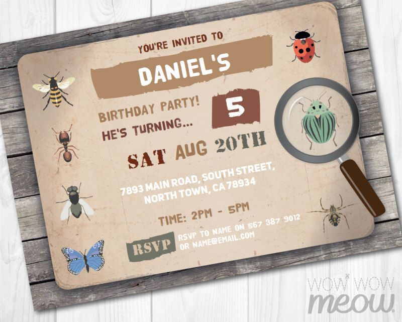 Bug Invitations Insect Catcher Invite Birthday Party Garden Boys Girls INSTANT DOWNLOAD Printable FREE Checklist Bugs Trail Scavenger Hunt by wowwowmeow on Etsy https://www.etsy.com/listing/245596361/bug-invitations-insect-catcher-invite