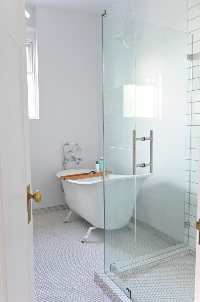 Penny Floor Tile Bathroom Traditional with Clawfoot Tub Clear Glass ...