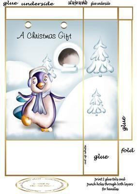 penguin gift bag on Craftsuprint - Add To Basket!